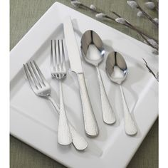 Reed and Barton English Hammered 86-piece Stainless Steel Flatware Set. (SAR 441)