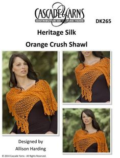 Orange Crush Shawl in Cascade Heritage Silk - DK265. Discover more Patterns by Cascade Yarns at LoveKnitting. The world's largest range of knitting supplies - we stock patterns, yarn, needles and books from all of your favorite brands.