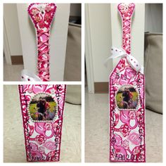 The Phi Mu paddle I made for my big, hand painted and all! submitted by: rita