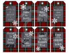 Red christmas gift tags bible verse isaiah 96 printable religious christian christmas digital chalkboard christmas plaid design printable holiday gift tags by vintagize negle Choice Image