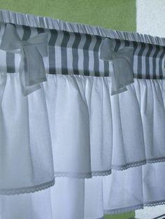 Cute Curtains, Shabby Chic Curtains, Drapes Curtains, Shabby Chic Kitchen, Shabby Chic Cottage, Kitchen Remodel Cost, Farmhouse Windows, Curtain Designs, Kitchen Curtains