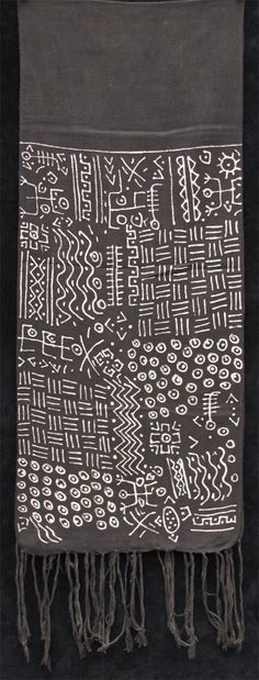 Africa | Bogolanfini - Mud-cloth scarf ~ from the Bamana people of Mali | Strip woven cotton, with natural dye