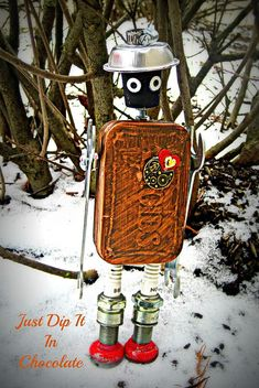 Altoids box in the snow...isn t he cute...and you never know when you are going to need a wrench or two!