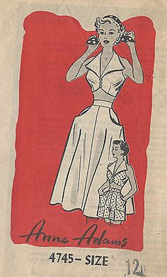 "1950s Vintage Sewing Pattern B30"" SKIRT, BRA & SHORTS (R81) By 'Anne Adams'"