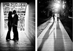 Black and white engagement photos...love the stadium entrance
