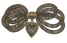 Victorian Hairwork Bow Brooch - Romantic Period 1837-1860 - AJU