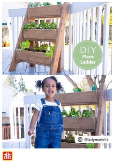 Expand your gardening space with a DIY plant ladder. Expand your gardening space with a DIY plant la Plant Ladder, Front Yard Landscaping, Landscaping Ideas, Garden Tool Organization, Cedar Planters, Gardening, Planting, Outdoor Projects, Space Saving