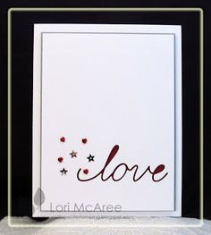 Smiling while Stamping: love Love/Valentine card made using Memory Box Love Script craft die