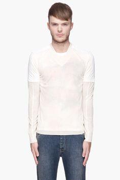 MAISON MARTIN MARGIELA White and ivory layered Printed V-neck sweater