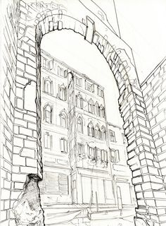 Viktor Timofeev: Graphite on paper, the strong perspective and clean lines of the image are juxtaposed with the haphazard nature of the aging architecture