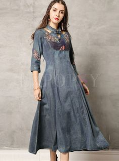 Retro Mandarin Collar Hollow Out Denim Dress Denim Kurti, Prom Dresses, Wedding Dresses, Mandarin Collar, Retro Dress, Denim Fashion, Vintage Dresses, Fashion Online, Cool Outfits
