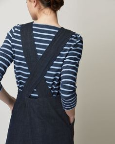 Pinafore front dress in deep, indigo-dyed denim. Wide straps, crossing over at back. Large, asymmetric pleat at back. Workwear Fashion, Fashion Outfits, Designer Plus Size Clothing, Dungaree Dress, Fashion Week, Fashion Blogs, Fashion Fashion, Fashion Trends, Inspiration Mode