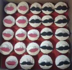 Lip and mustache cupcakes. red velvet - joint bachelor and bachelorette party