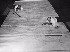 Before computers, we relied on t-squares, rulers & ink. Workers map Cambridge electrical system in 1950. - Imgur