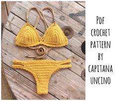 Reserved listing for Leonie: Capheira bikini with brazilian bottom Bikini Crochet Patron, Bikinis Crochet, Crochet Bikini Bottoms, Crochet Crop Top, Double Crochet, Single Crochet, Crochet Thread Size 10, Basic Crochet Stitches, Crochet Hooks