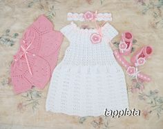 #baptism set #baby #dress knitted bolero headband booties #tappleta