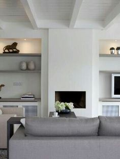 contemporary country living room - fablulous lighting - Haard