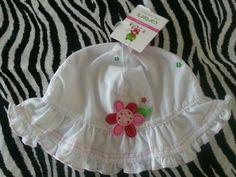 Carter's Flower White Baby Girl Summer Ruffle Sun Hat ~ Size 3-9 M ~ NWT $3