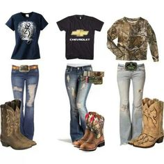 Yes please keywords< Camo Outfit cowgirl boots chevy ripped jeans country girl chevrolet cowboy boots western wear. I have two pairs of boots, my dressy ones and my casual ones. Camo Outfits, Cowgirl Outfits, Western Outfits, Western Wear, Redneck Outfits, Cowgirl Dresses, Cowgirl Shirts, Party Outfits, Western Boots