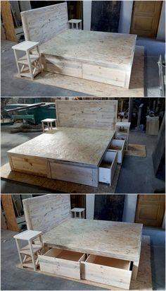 Unique and Pretty Wooden Pallet Projects: You can use wooden pallets in a variety of ways. We have used a number of wooden pallets to create some unique and pretty projects which. Wooden Pallet Projects, Wooden Pallet Furniture, Pallet Crafts, Wooden Pallets, Pallet Ideas, Wooden Diy, Pallet Wood, Wooden Bed Frame Diy, Bed Headboard Wooden