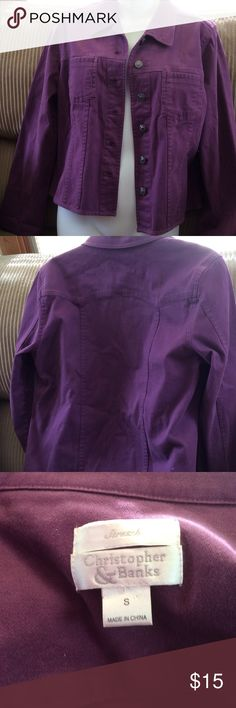Adorable plum Jean-type jacket. Very cute and pretty plum color jacket with a little stretch for comfort. Cute metal buttons with flower detail. Only worn a few times. Perfect condition! I love this! Christophor and Banks Jackets & Coats Jean Jackets