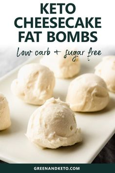 Keto Cheesecake Fat Bombs - Green and Keto - Fat Bombs for Keto and Paleo Diet - Try these vanilla cheesecake keto fat bombs for a delicious low-carb treat. They're a no-bake, sugar-free, and gluten-free snack, too. Healthy Low Carb Recipes, Low Carb Dinner Recipes, Low Carb Desserts, Keto Recipes, Keto Dinner, Dessert Recipes, Soup Recipes, Cookie Recipes, Snack Recipes