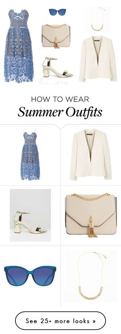 """Europe Summer Wedding Outfit"" by littlelifeguru on Polyvore featuring self-portrait, Carvela, Dune, MANGO and ToyShades"