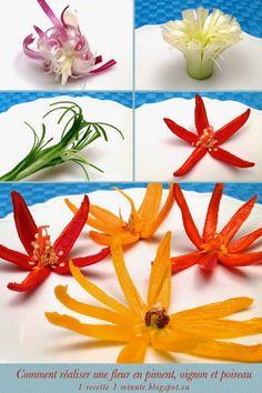 1 sculpture de fruit et légume: Comment Réaliser une Fleur avec un Piment, un Oignon vert et un Poireau