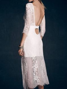 White Sheer Crochet Lace 3/4 Sleeve Cut Out Back Stripe Two Layer Dress | Persunmall