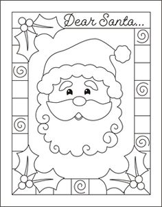 Write a letter to Santa - Christmas coloring cards for kids - printable free coloring cards -  Christmas coloring pages