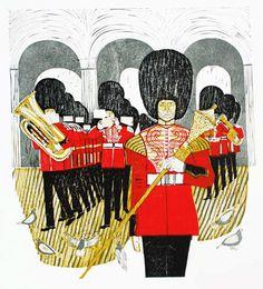 'Drum Major' by Robert Tavener (linocut) Drum Major, London Art, Woodblock Print, Printmaking, Drums, Illustrators, Mickey Mouse, London Calling, Artists