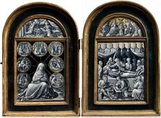 A parcel-gilt grisaille enamel diptych of the Seven Sorrows of The Virgin and The Death of The Virgin by Pierre Reymond (c. 1513-after 1584), Limoges, circa 1540's, the case possibly 16th or 17th century. Signed P.R and the case possibly bearing the arms of the de Sarrazin, du Rousset or de Varisque families, 11 ¼ in. (27.9 cm.) high, 15 in. (38.1 cm.) wide, 1 1/8 in. (2.5 cm.) deep, overall open.