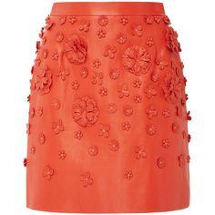 Elie Saab Embossed Leather Mini Skirt (29.063.435 IDR) ❤ liked on Polyvore featuring skirts, mini skirts, elie saab, mini skirt, red skirt, embellished mini skirt, floral mini skirt and leather miniskirt
