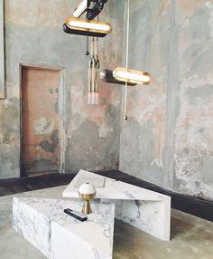 @apparatusstudio showcased their current #lighting and #object series at #milandesignweek via #vosgesparis #interiorarchitecture #interiordesign #interior #design #marble #brass #brasslightng #pinkandgrey #render #salonedelmobile by lot1design