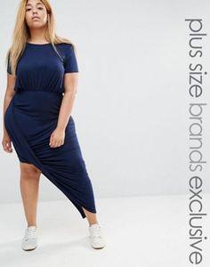 Club L Lounge Plus Drape Front Short Sleeve Maxi Dress