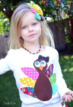 Girls Thanksgiving Shirt Turkey Applique Shirt 18m 2T by Aidille, $32.00