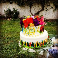 Flower power water colour cake. Colourbomb