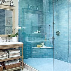 Water Everywhere - Beach House Bathrooms - Coastal Living From high-end to laid-back, updated to old-fashioned, indoors to out, these coastal bathrooms are filled with smart and stunning design ideas. Beach House Bathroom, Beach Bathrooms, Beach House Decor, Home Decor, Beach Houses, Master Bathroom, Blue Bathrooms, Bathroom Stand, Turquoise Bathroom