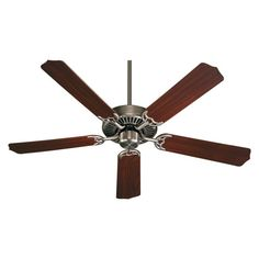 "Quorum International Q77525 Capri I 52"" 5 Blade Hanging Indoor Ceiling Fan with Antique Silver Fans Ceiling Fans Indoor Ceiling Fans"