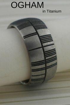 Personalized Ogham Wedding Rings in Titanium