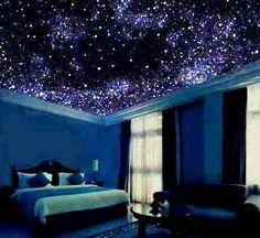 Inspirations For The Best Ceiling Paint - Ceiling design Best Ceiling Paint, Ceiling Painting, Star Bedroom, Home Bedroom, Bedrooms, Night Bedroom, Neon Bedroom, Dream Rooms, Dream Bedroom