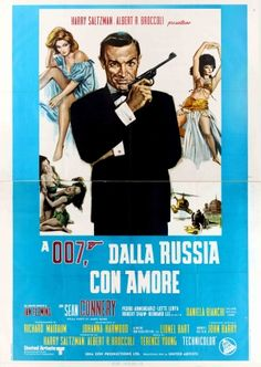 James Bond From Russia with Love Italy 4-foglio 1970s - large original vintage four-fold cinema poster for the Italian re-release of the 007 James Bond movie From Russia with Love / A 007 Dalla Russia con Amore directed by Terence Young and starring Sean Connery, Robert Shaw, Pedro Armendariz, Lotte Lenya and Bernard Lee listed on AntikBar.co.uk