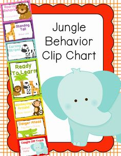 Behavior Clip Chart - Behavior Management - JUNGLE ANIMALS 4, $