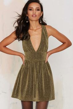 Nasty Gal Struck Gold Metallic Mini Dress - Clothes | All Things Glitter | All | Party Shop | Going Out | Fit-n-Flare | Dresses | Sequins & Glitter | Clothes | Dresses & One Pieces