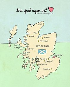 I Love You in Scotland // Typographic Print, UK Map, Chart, Giclee, Modern Baby Nursery Decor, Illustration, European Travel Theme, Digital