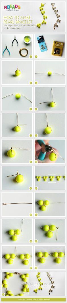 how to make pearl bracelet - making triple cluster pearl bracelet