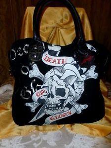 Ed Hardy Suede N Leather Glory Skull Rose Embellish ExL Shoulder Tote Bag Purse