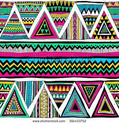 neon color tribal Navajo vector seamless pattern with doodle triangles. aztec abstract geometric print. ethnic hipster backdrop. Wallpaper, cloth design, fabric, paper, cover, textile. Hand drawn