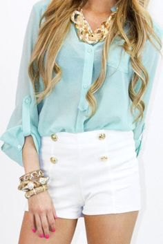 Light Blue, White, Gold Outfit
