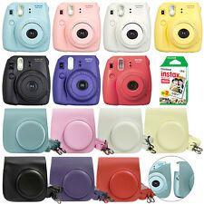 Fuji Instax Mini 8 Fujifilm Instant Film Camera All Colors+ Case & 20 Film Sheet Mini 8 Grape Raspberry Blue Yellow Hot Pink Black White